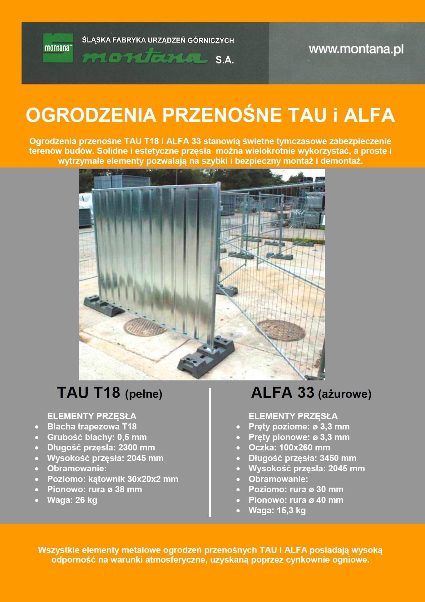 Przęsła TAU T18 oraz ALFA 33
